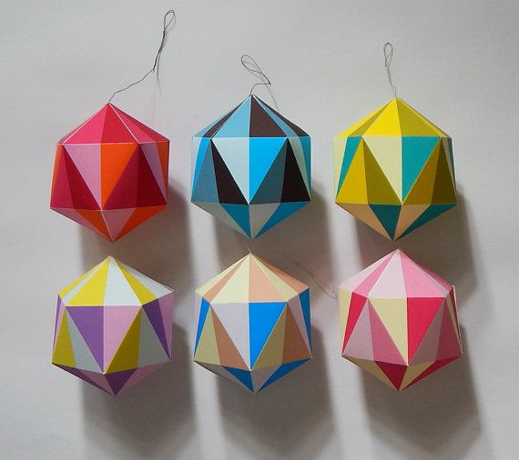 Modern BRIGHT paper Christmas Decoration by EllenGiggenbach
