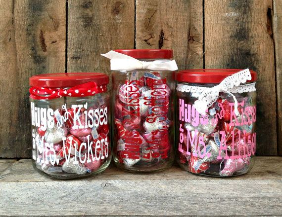 valentines day gift personalized candy jar hugs and kisses teacher gift friend - Personalized Valentine Candy