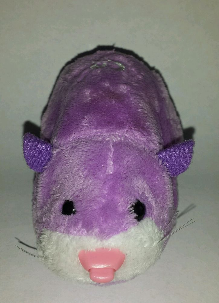 Zhu Zhu Pet Hamster Justice Purple White Heart With Tag Tested And
