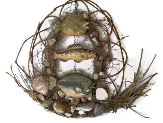 Rustic fish decor rustic fish art ooak grapevine by for Fishing decor for man cave