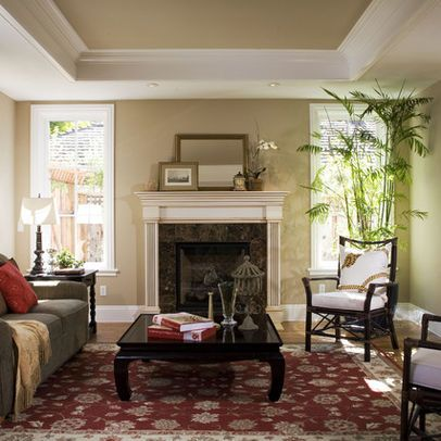 Tray Ceiling W Recessed Lighting Over Mantle Windows And