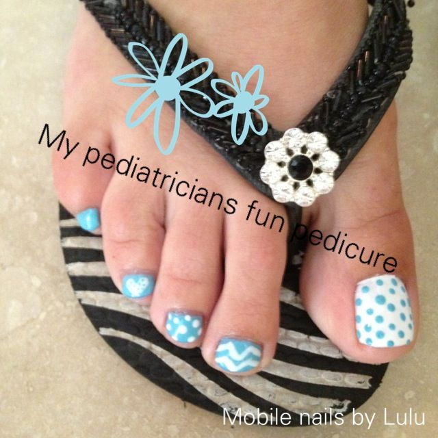 Polkadots Chevron's and hearts new polish pretty pedicure Mobile nail art by Lulu