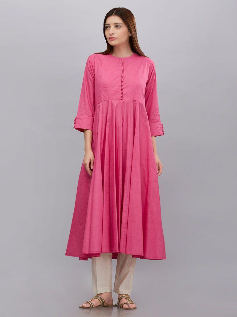 8d1523478 Pink Cotton Mul Anarkali | The Loom Ethnic Wear in 2019 | Dresses ...