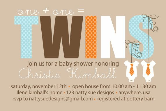 TWINS Custom Baby Shower Invitation by nattysuedesigns1 on Etsy - invitation template online