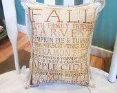 Autumn pillow, burlap pillow, fall pillow, thanksgiving,shabby chic, farmhouse decor, cottage decor ,handmade pillow
