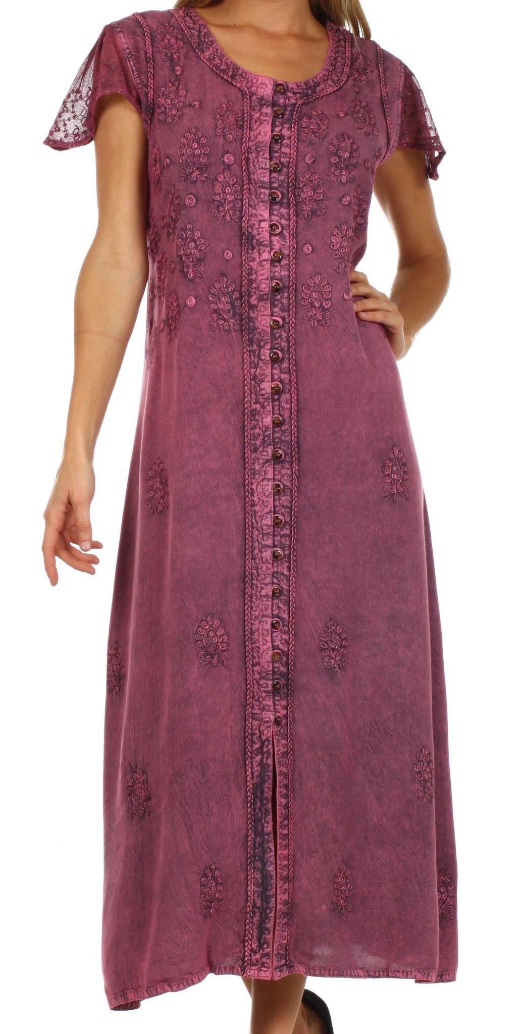 Sakkas stonewashed embroidered cap sleeve maxi long dress final