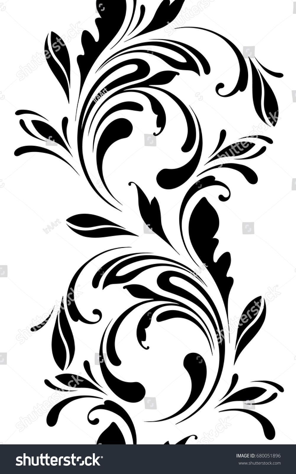 Outline floral seamless pattern ornamental border for ribbons