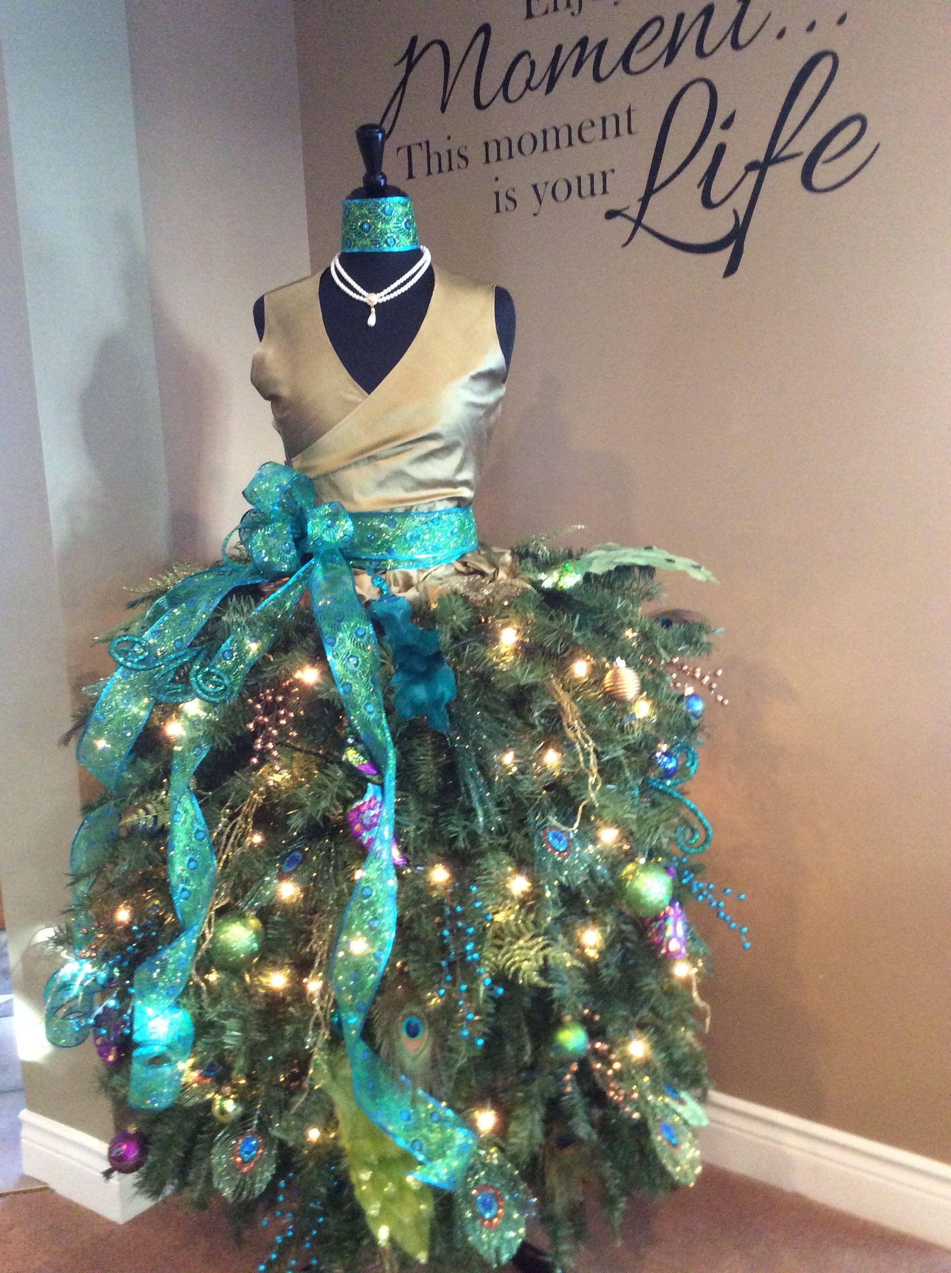 my 2016 peacock themed dress form christmas tree