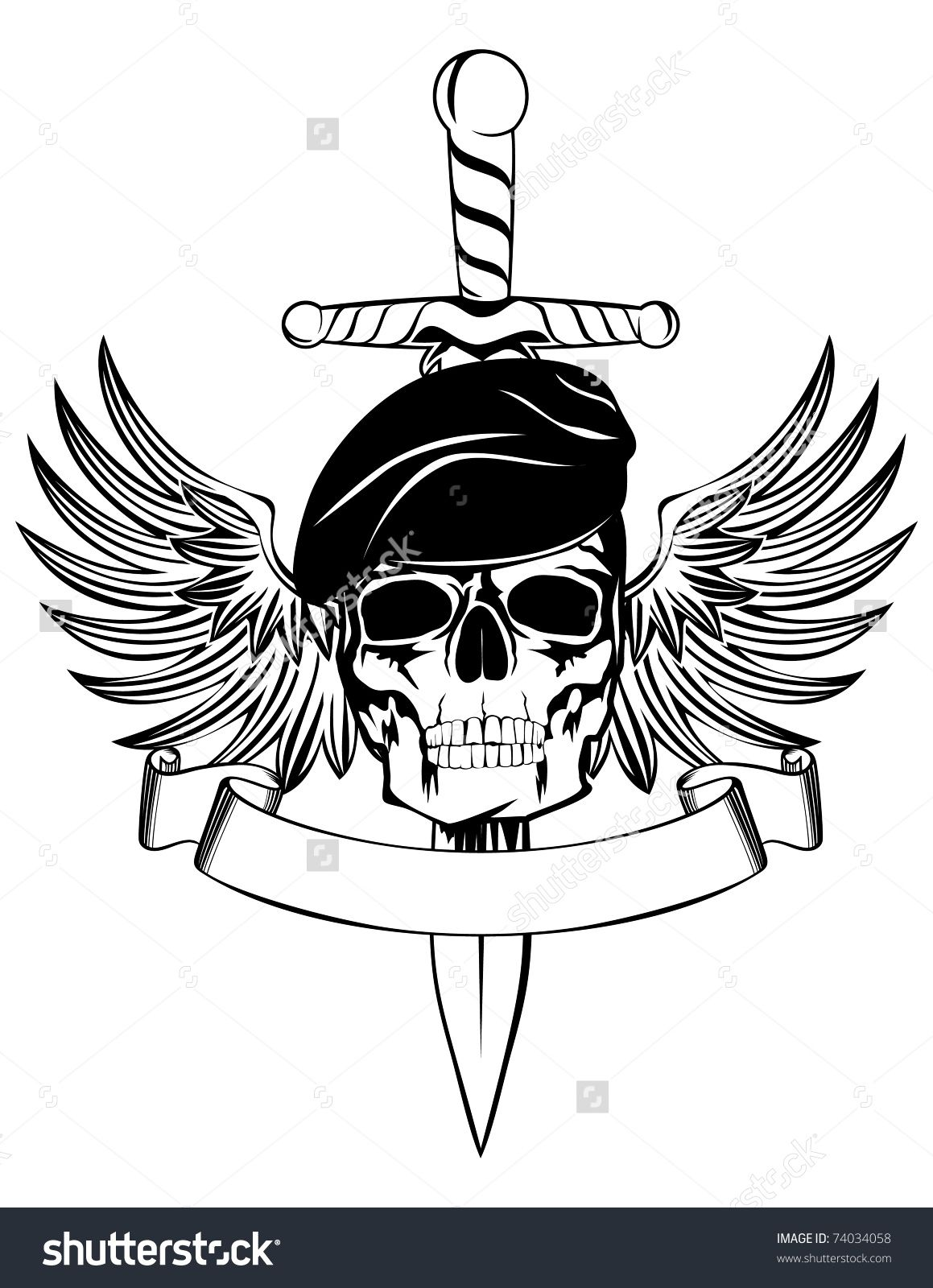 Skull In Beret With Dagger And Wings Tattoo Pinterest Berets