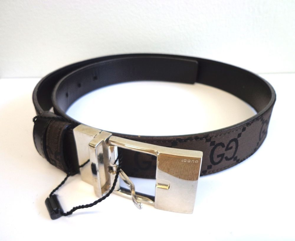 GUCCI AUTHENTIC BELT MONOGRAM SZ MEDIUM BROWN W/ SILVER BUCKLE NEW W/OUT TAGS
