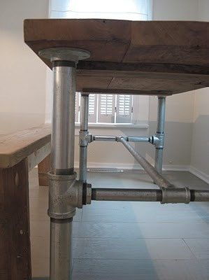Industrial pipe leg planked dining table pipes industrial and legs industrial pipe leg dining table by lapalletcreations on etsy 40000 does custom orders watchthetrailerfo