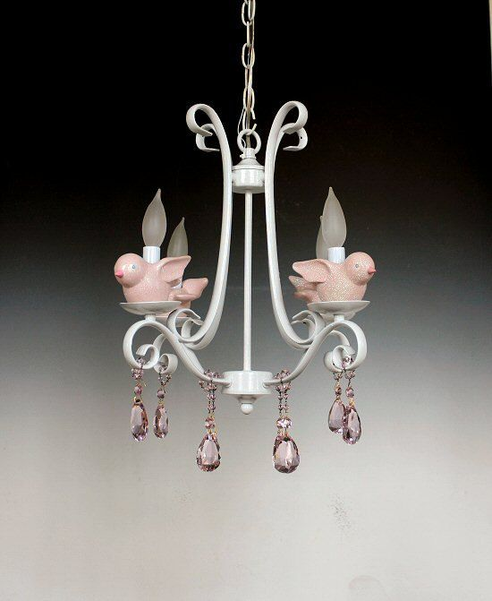 Pink and white nursery chandelier lighting country chic cottage pink and white nursery chandelier lighting country chic cottage light fixture with birds chandicharms aloadofball Images