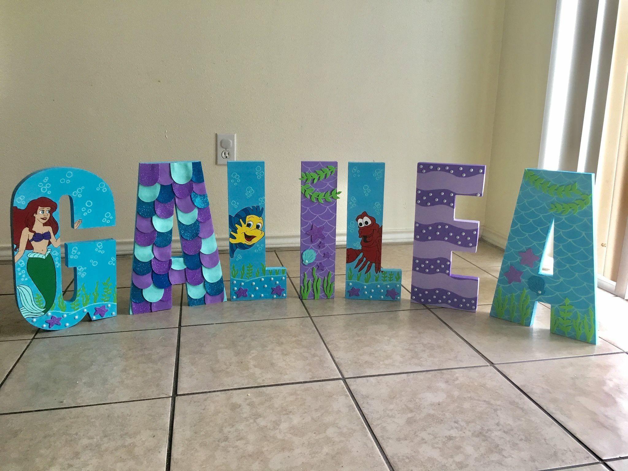 8 Inch Wooden Letters Little Mermaid Ariel Theme Wood Letters In