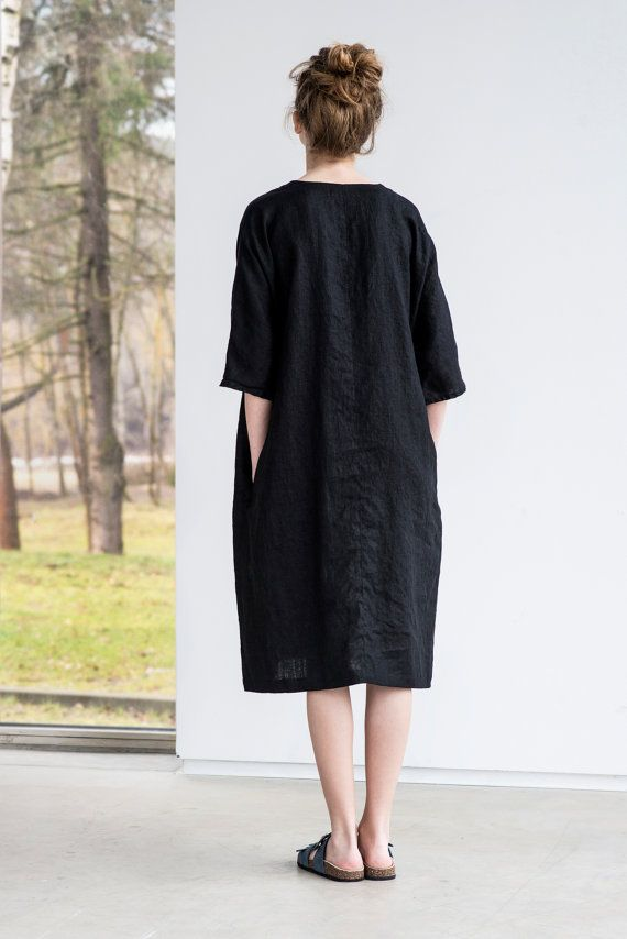 Tunic - dress VALENCIA in MIDI length / Washed linen tunic in deepest black / Oversize linen dress