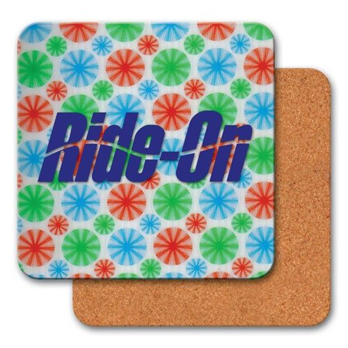 """Lenticular coaster with red, blue, and green spinning wheels, animation 