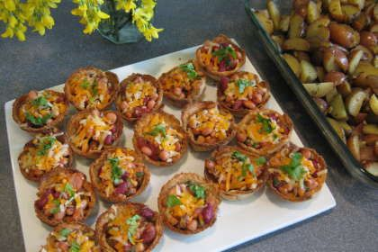 Crispy Bread Tarts With Beans And Salsa -- use non-dairy substitutes
