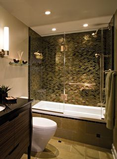 Beautiful Tub With Tile And Glass Doors. Condo Bathroom Remodeling Ideas,  Love The Tile Here! It Looks Like A Luxury Bathroom, Bathroom Design Ideas