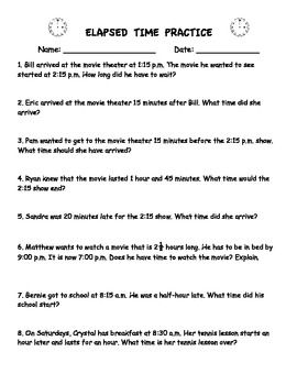 Elapsed Time Practice Worksheet (Word Problems) | Curriculum: Math ...