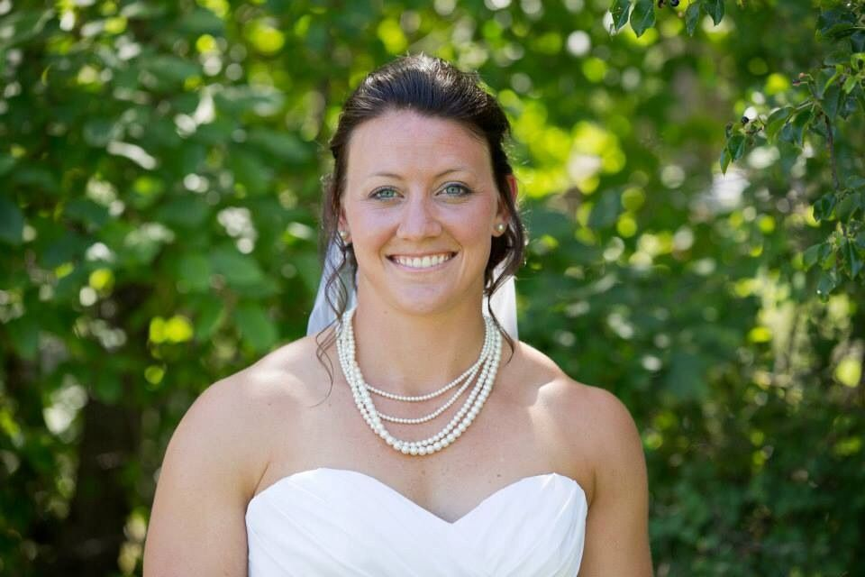 Shanna wearing my 4-strand Swarovski pearl necklace and pearl post earrings on her beautiful wedding day. Courtesy of Treehouse Photography.