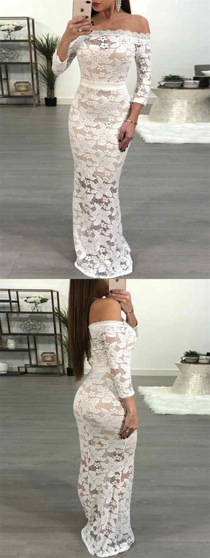 Mermaid offtheshoulder sleeves floorlength white lace prom