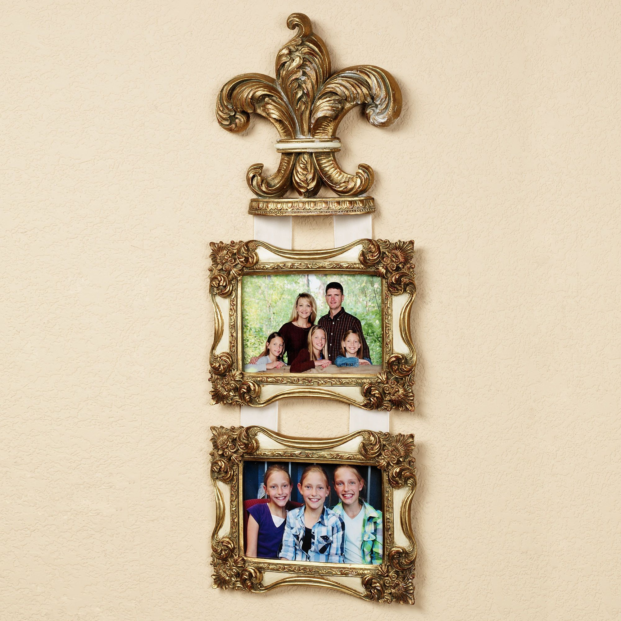 Accent Wall Dual Staircase: Royal Plume Fleur De Lis Double Photo Frame Wall Accent