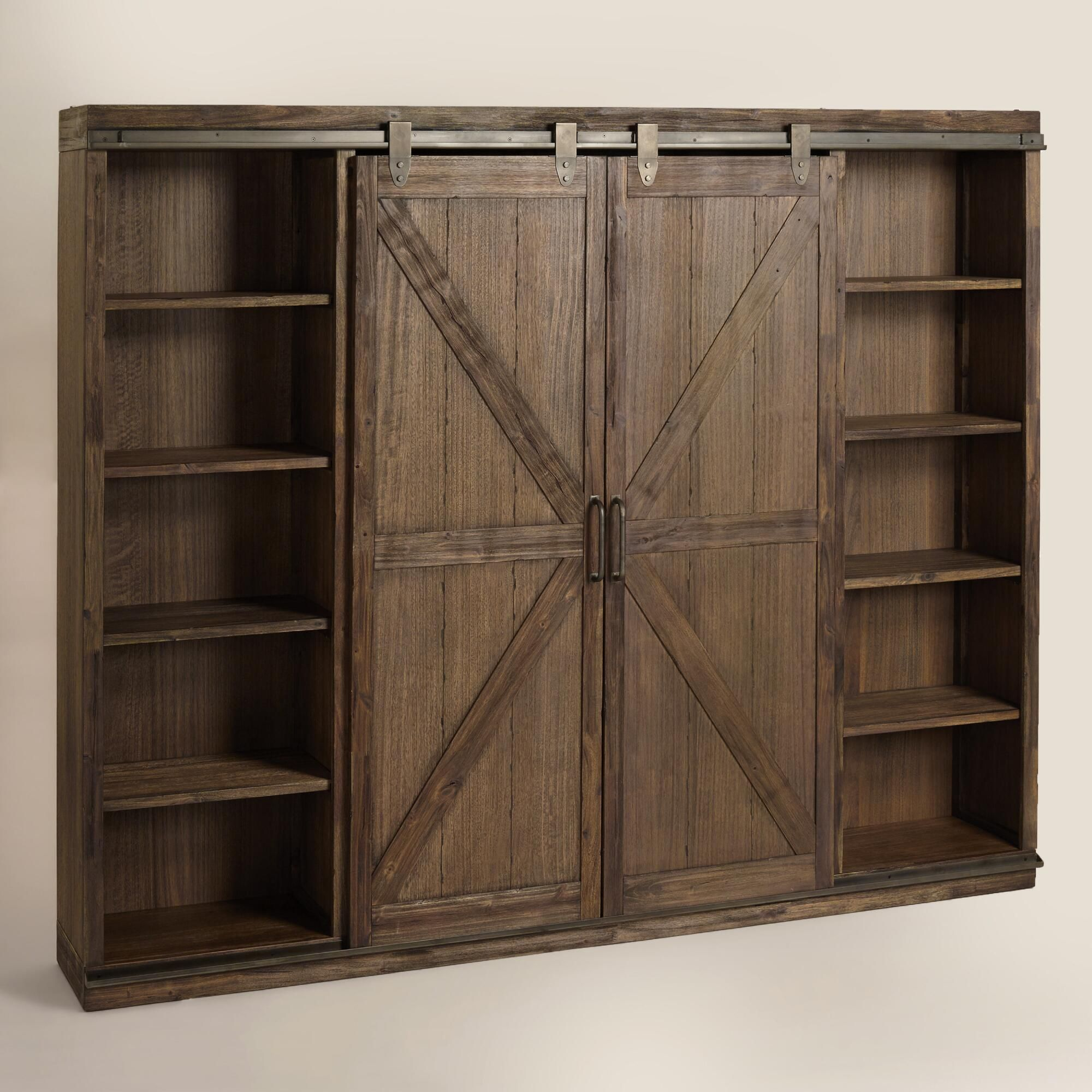 Wood farmhouse barn door bookcase metal accents barn for Sliding cupboard doors
