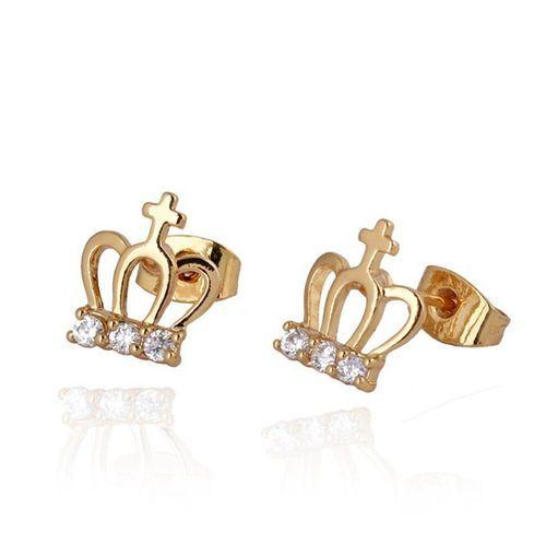 Kuniu pendientes de cristal de circón corona del perno prisionero del oído joyería de las mujeres código(1023544)