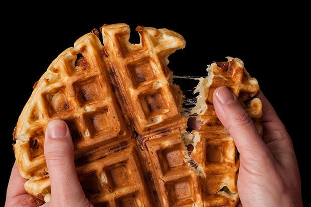 Savory Cheddar Waffles 2 cups all-purpose flour 2 teaspoons baking powder 2 teaspoons kosher salt 2 large eggs 2 cups whole milk 8 tablespoons unsalted butter (1 stick), melted 2 cups shredded Irish cheddar cheese