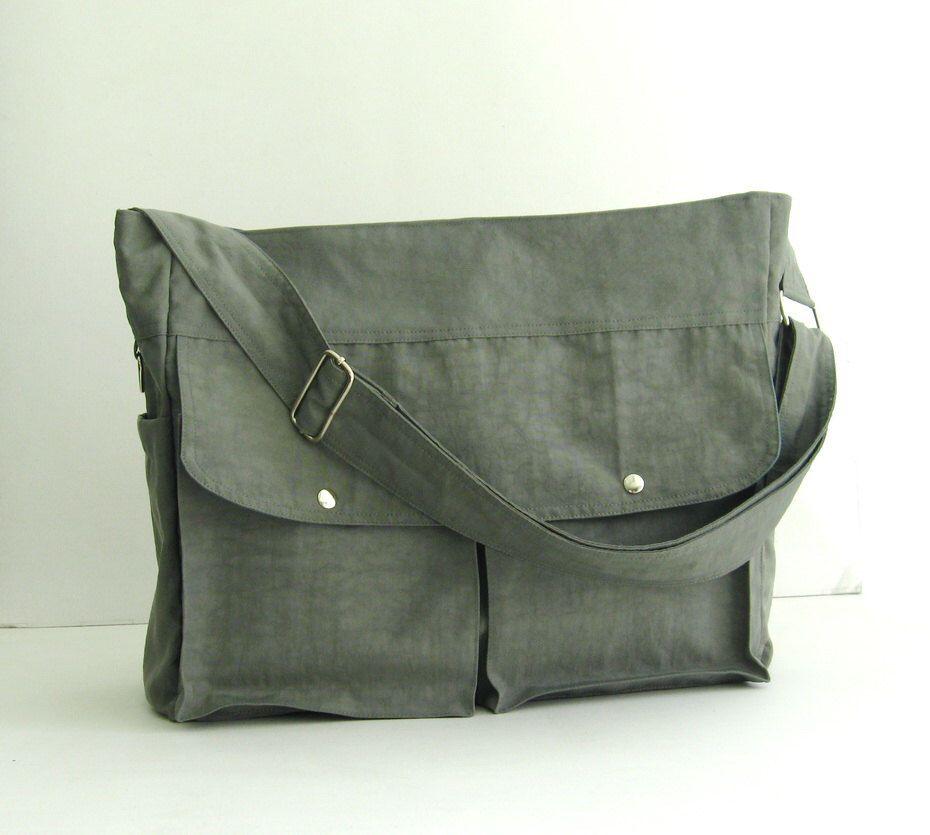 Sale - Grey Water-Resistant Nylon Diaper Bag - Shoulder bag, Messenger bag, Tote, Travel bag, Women, Gym bag - JENNIFER by tippythai on Etsy https://www.etsy.com/listing/85161142/sale-grey-water-resistant-nylon-diaper
