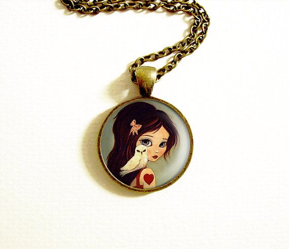 Small Pendant Necklace  Owl with Girl  Owlways by thelittlefox, $15.00