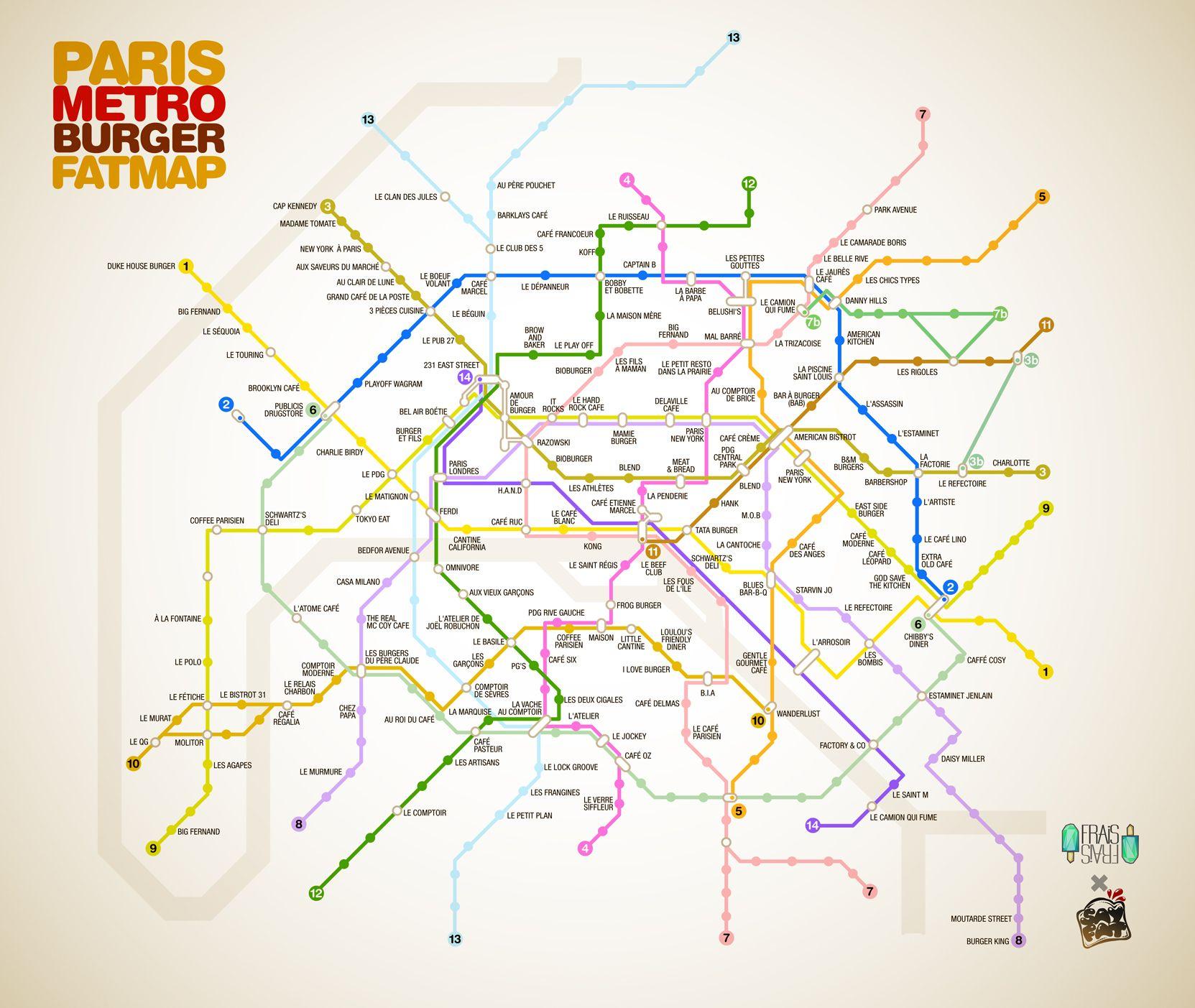 Le plan de métro des meilleurs burgers de Paris | Paris metro
