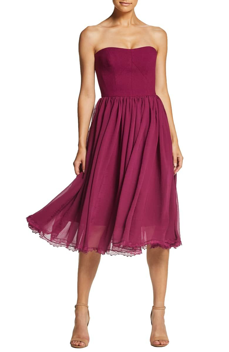 34a0d96203fd3 Willow Strapless Crepe Chiffon Cocktail Dress, Main, color, DARK MAGENTA