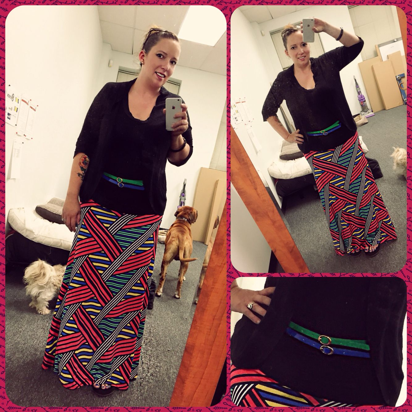I absolutely adore this pattern! I love this #LuLaRoe #Maxi with my $2 Walmart belts and my target shirt and sweater.