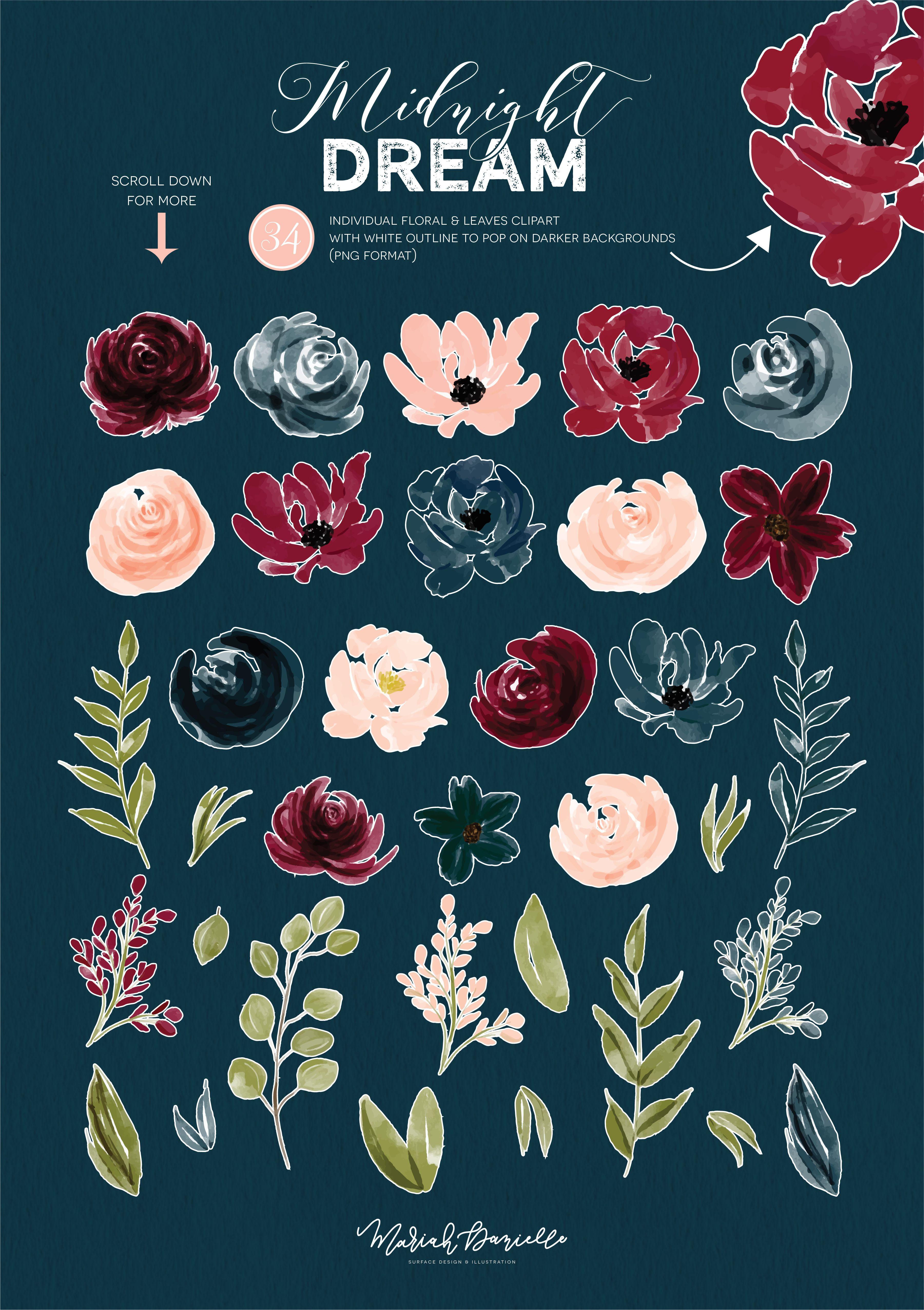 Burgundy & Navy Flower Clipart Set | Wedding clip art, Floral ...