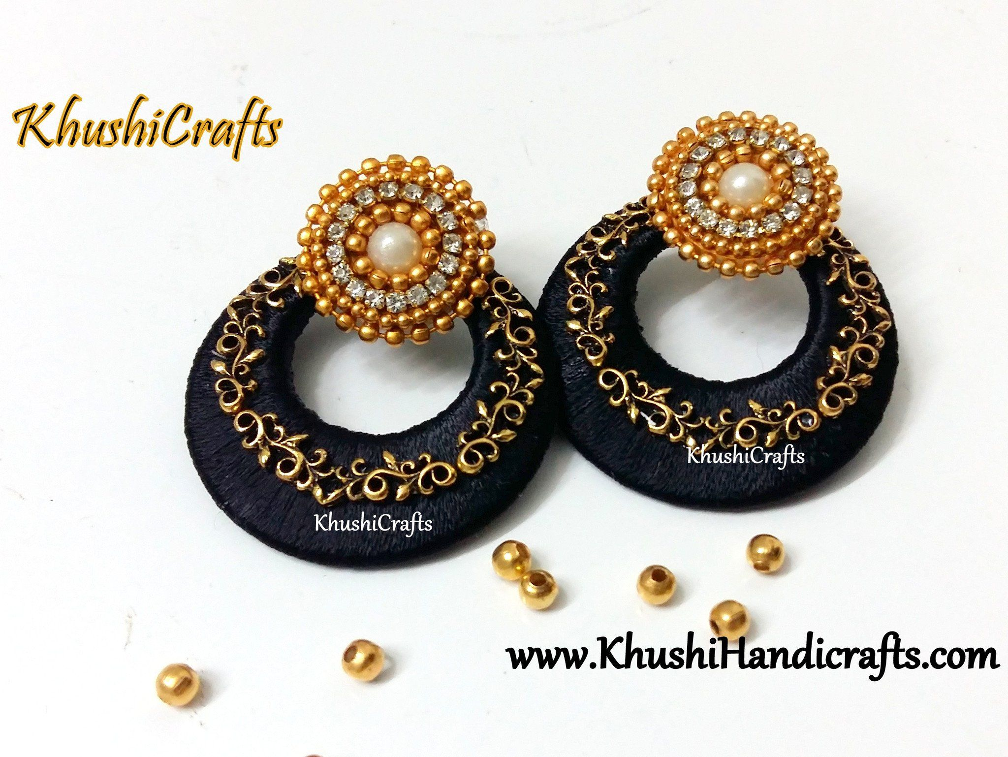 silk thread black earrings