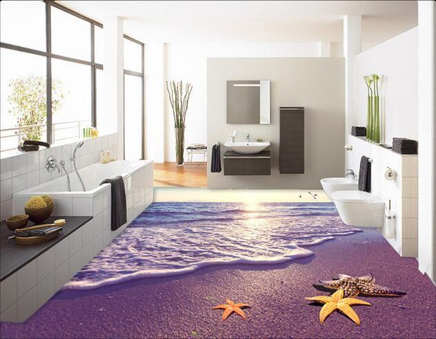 3d papier peint personnalisé 3d pvc plancher La plage dans le matin