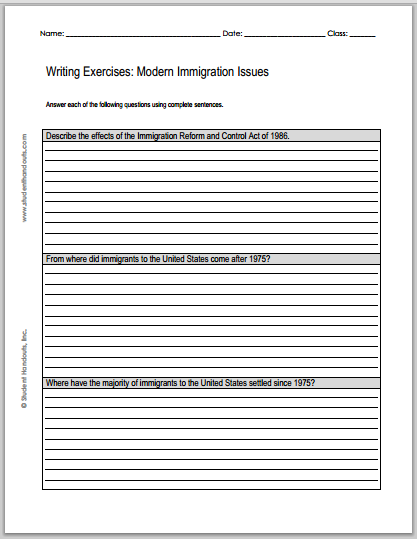 Modern Immigration Issues Essay Questions Worksheets Are Free