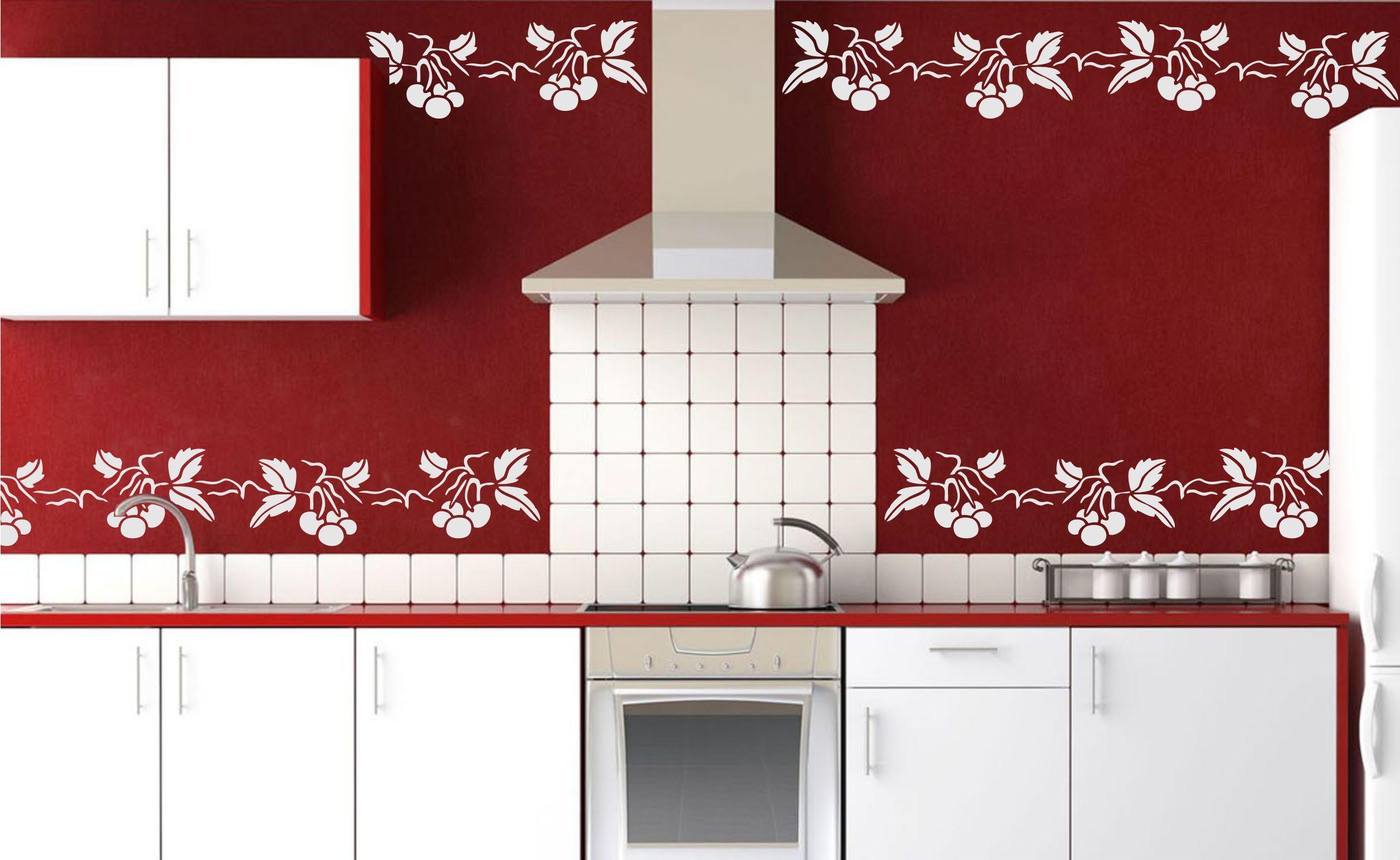 Cherry Border Stencil Http Www Amazon Com Dp B01hdoat9w M A1seuoz4t4hcbd Kitchen Cabinets Home Decor Decor