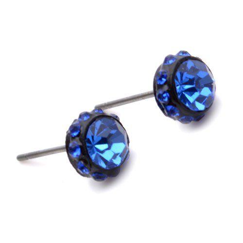 K Mega Jewelry Stainless Steel Blue Crystal Studs Hoop Mens Earrings E303