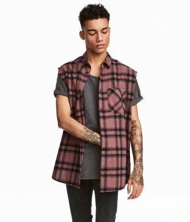 006a0f190 Sleeveless Flannel Shirt | Pink/checked | Men | H&M US | | Mens ...