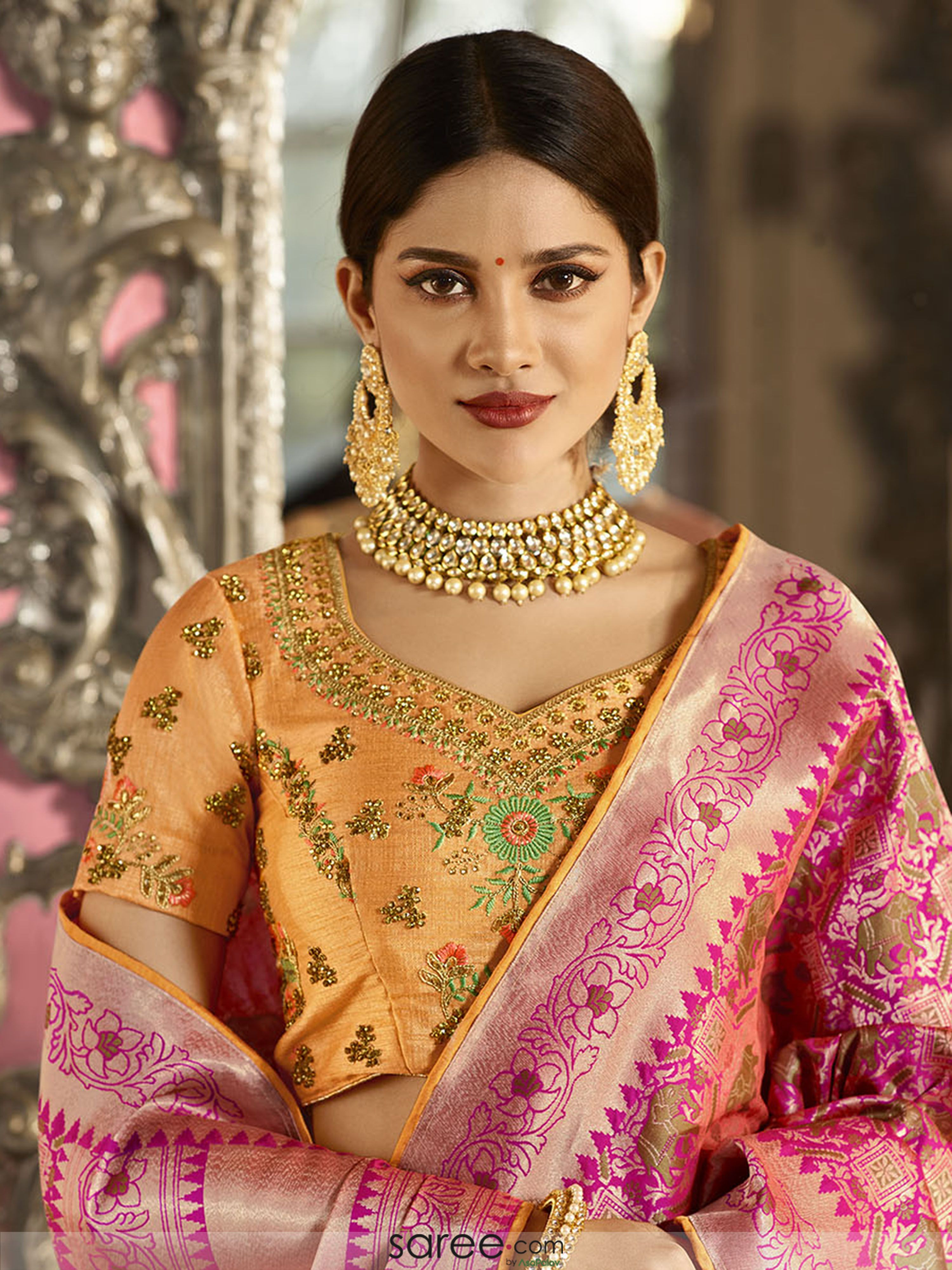 4277bc2d500b4a Mustard Silk Floral Embroidered Blouse Design