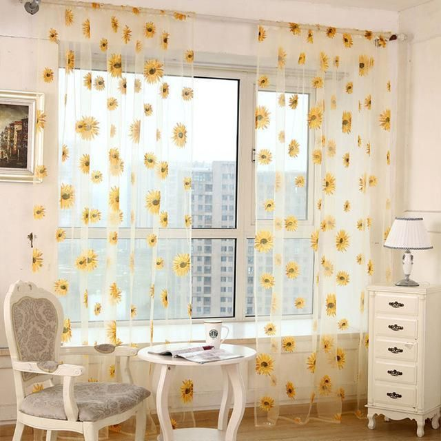 5 Colors Green Polyester Curtains Tulle For Living Room Kitchen Sunflowers Printed Translucidus