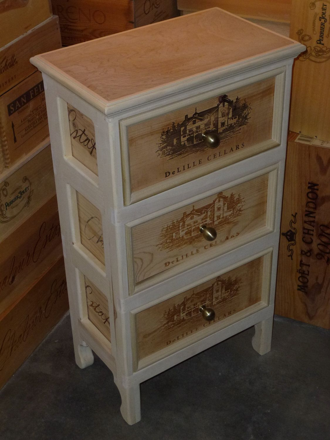 Gorgeous Delille Cellars Three Drawer Wine Crate End Table