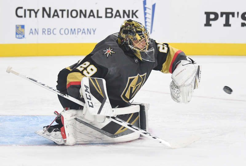Las Vegas Nevada September 28 Marc Andre Fleury 29 Of The Vegas Golden Knights Makes A Glove Save On A Los A With Images Vegas Golden Knights Los Angeles Kings Knight
