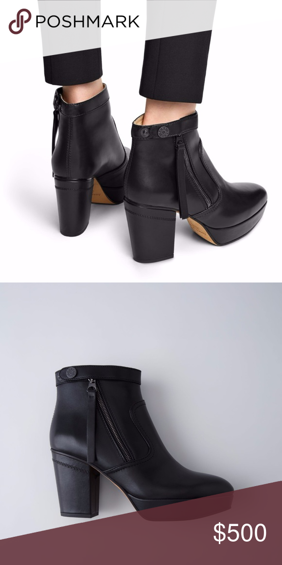 94ab9e8705ca Acne Studios Track black are elongated platform ankle boots with extra long  tassel zipper pulls. Acne Shoes Ankle Boots   Booties