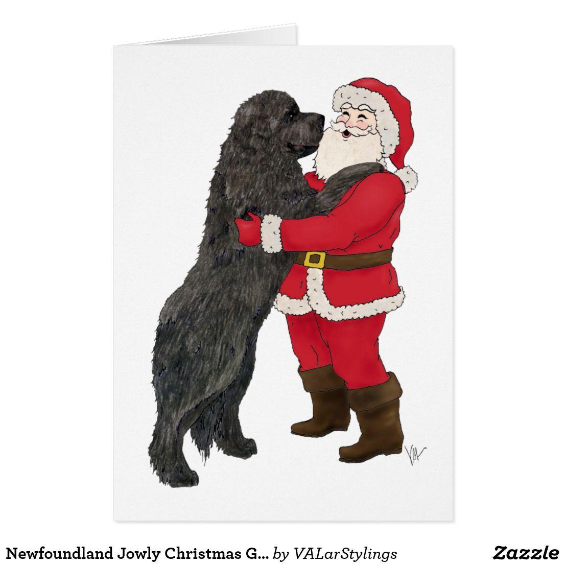 Newfoundland Jowly Christmas Greeting Holiday Card ...