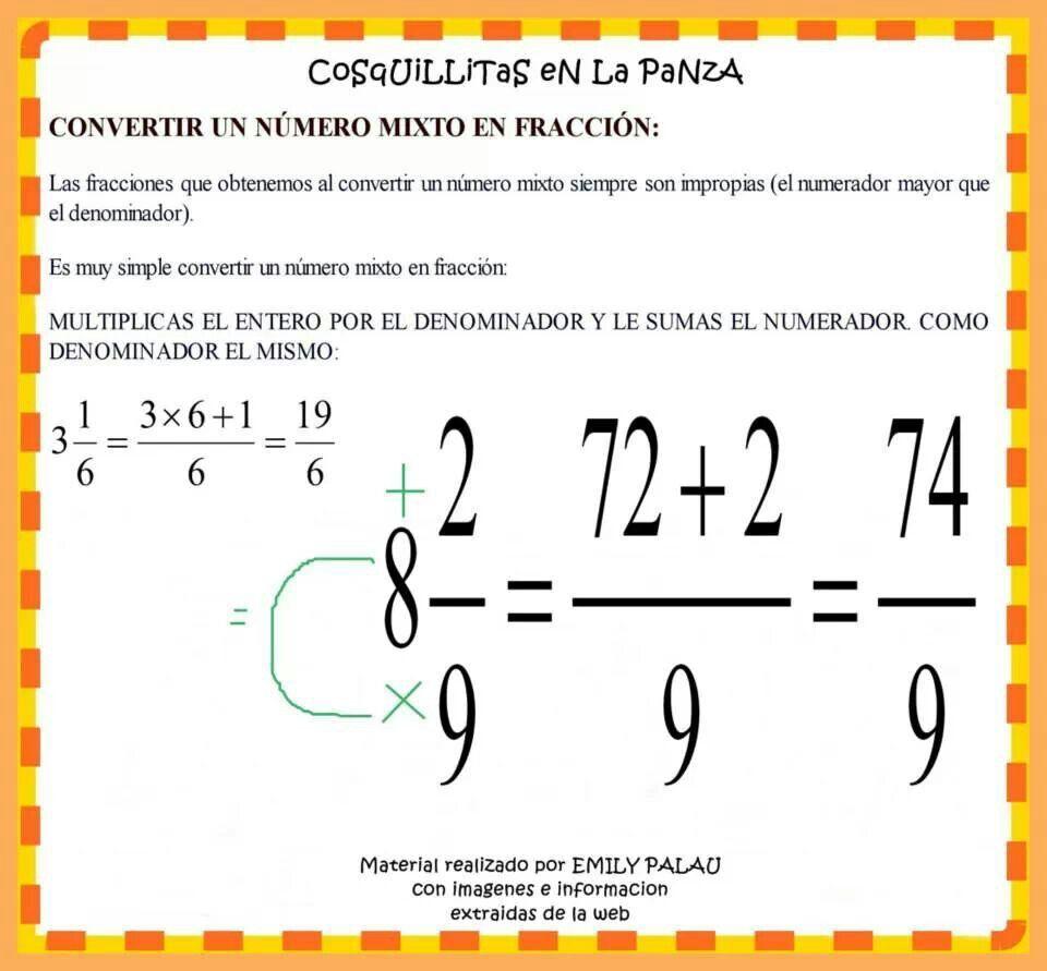 Convertir numeros mixtos a fraccion | IDEAS: Mate | Pinterest | Números