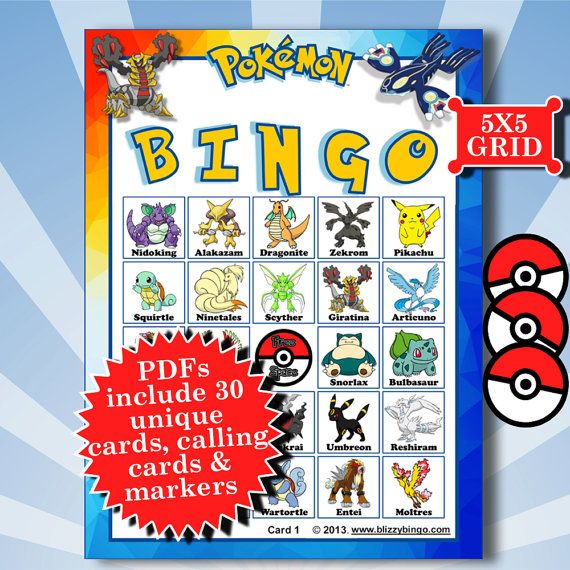 POKEMON 5x5 Bingo Printable PDFs Contain Everything You Need To Play 5 Really Love That The Names Of Characters Are Printed On And