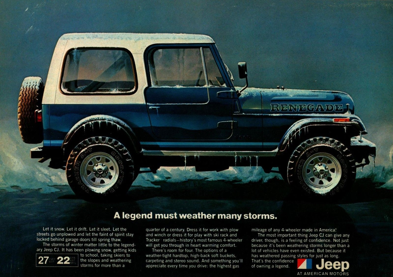 1981 Jeep Blue Renegade Winter Storm Original Color Vintage Ad