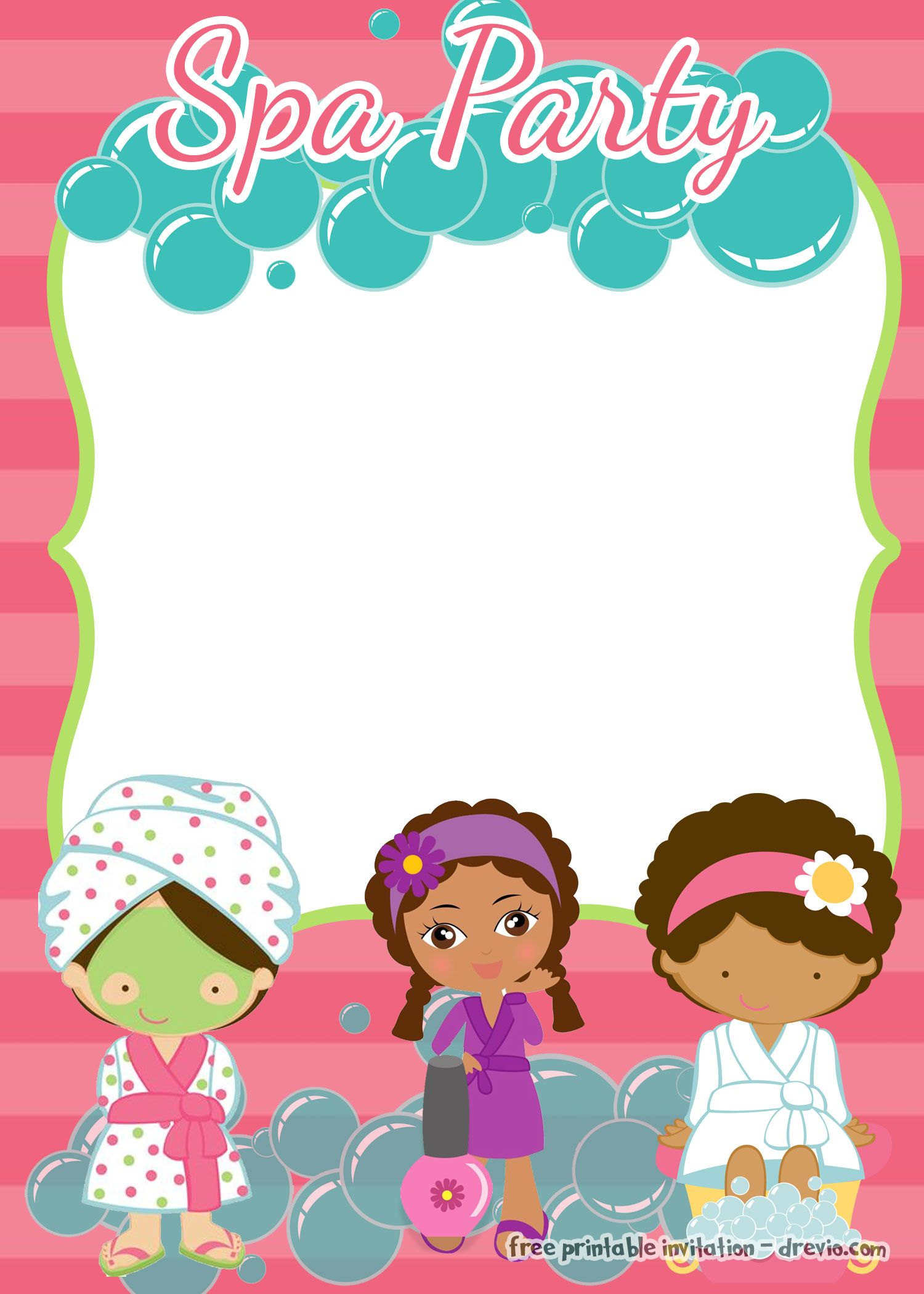 printable spa party invitations